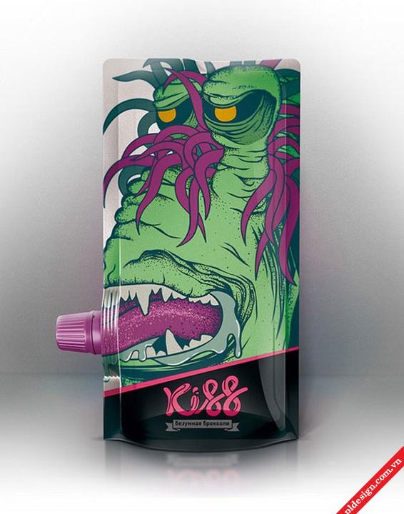 Một thiết kế bao bì nước trái cây KISS.