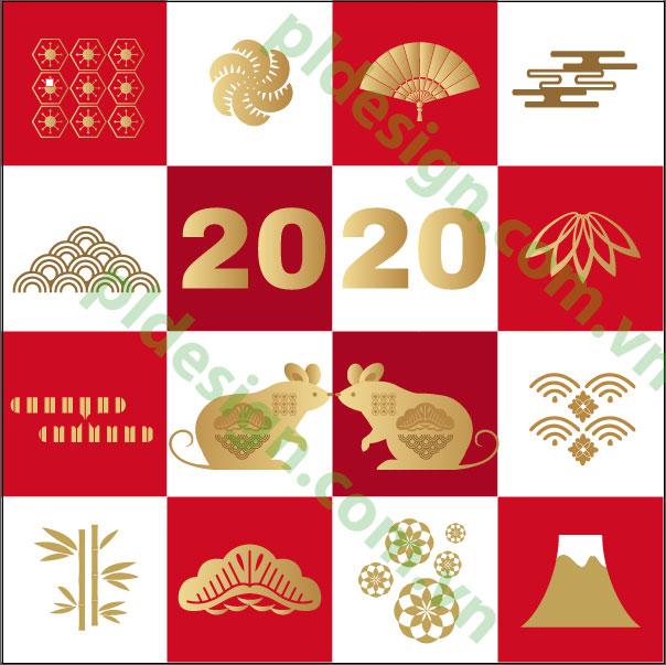 vector tết cổ truyền- canh tý -2020
